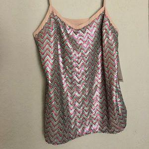 Ella Moss sequin chevron pattern v-neck tank, NWT